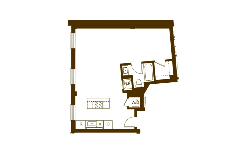 A Studio 1 Bath Floorplan
