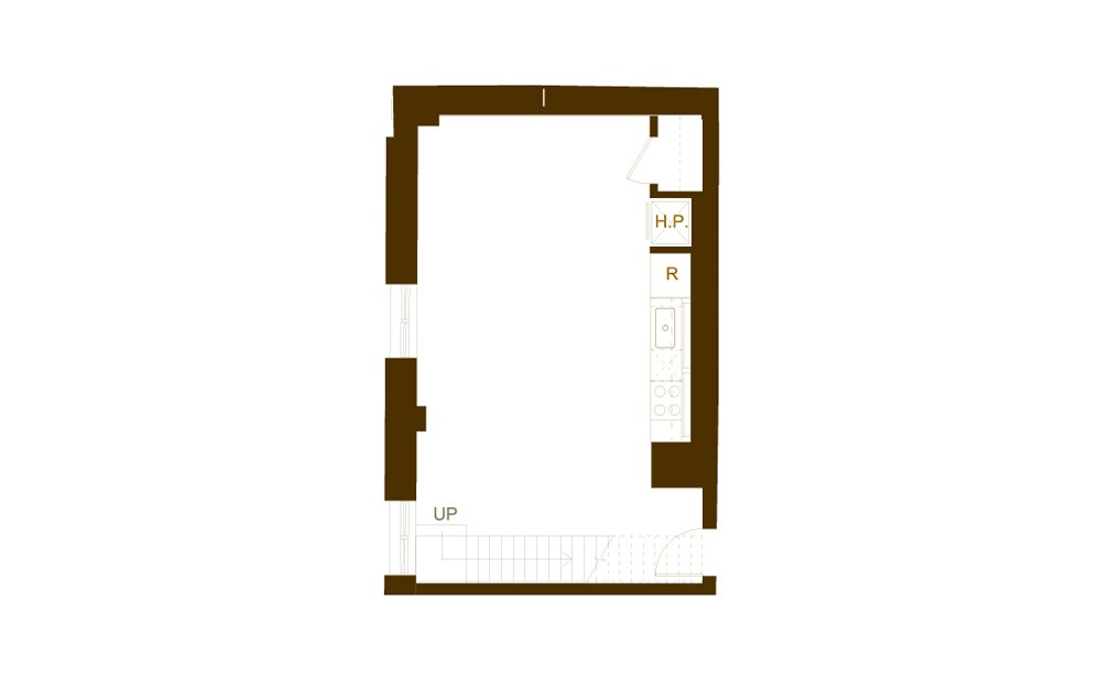 AA2 1 Bed 2 Bath Floorplan