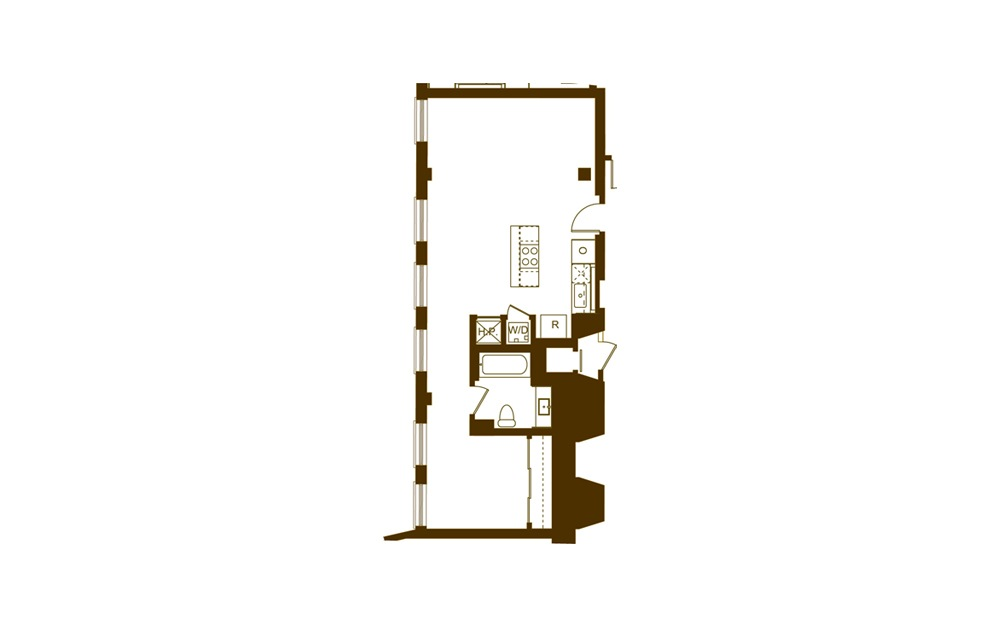 B 1 Bed 1 Bath Floorplan