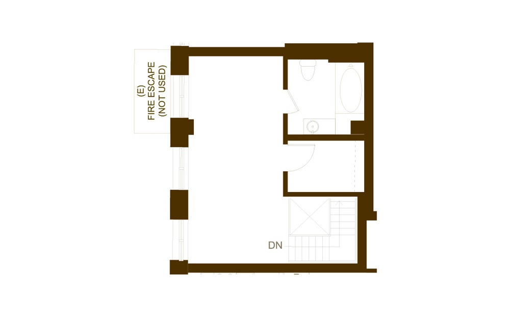 BB2 1 Bed 1.5 Bath Floorplan