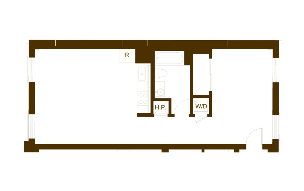 C 1 Bed 1 Bath Floorplan