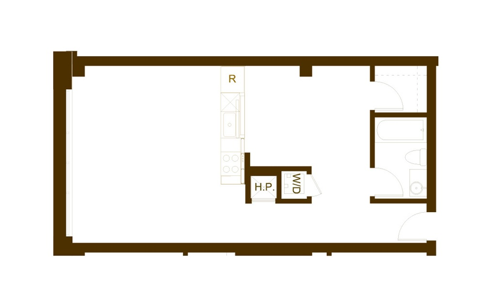 EE 1 Bed 1 Bath Floorplan