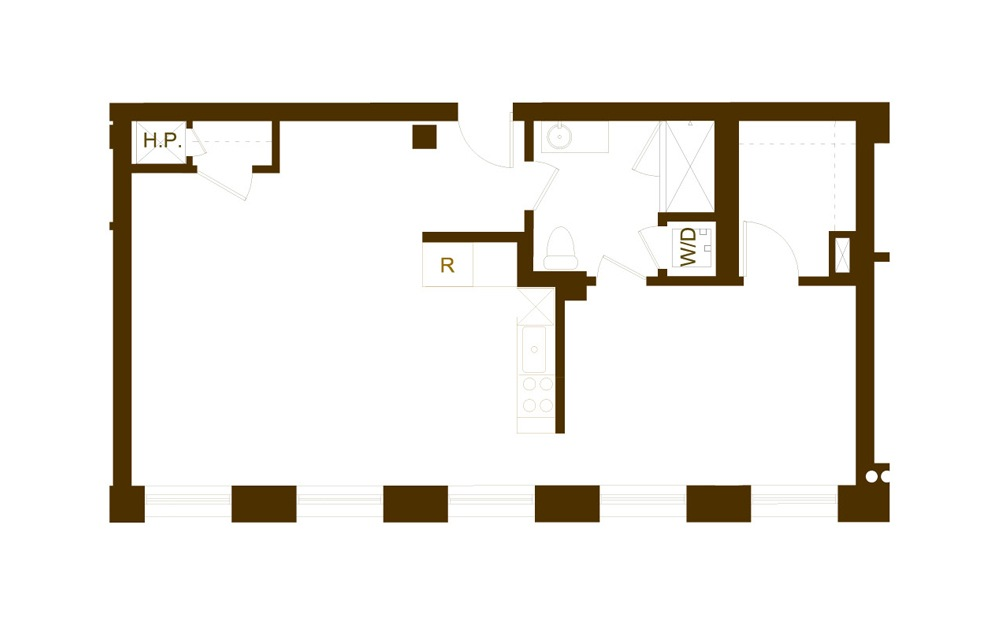 F 1 Bed 1 Bath Floorplan