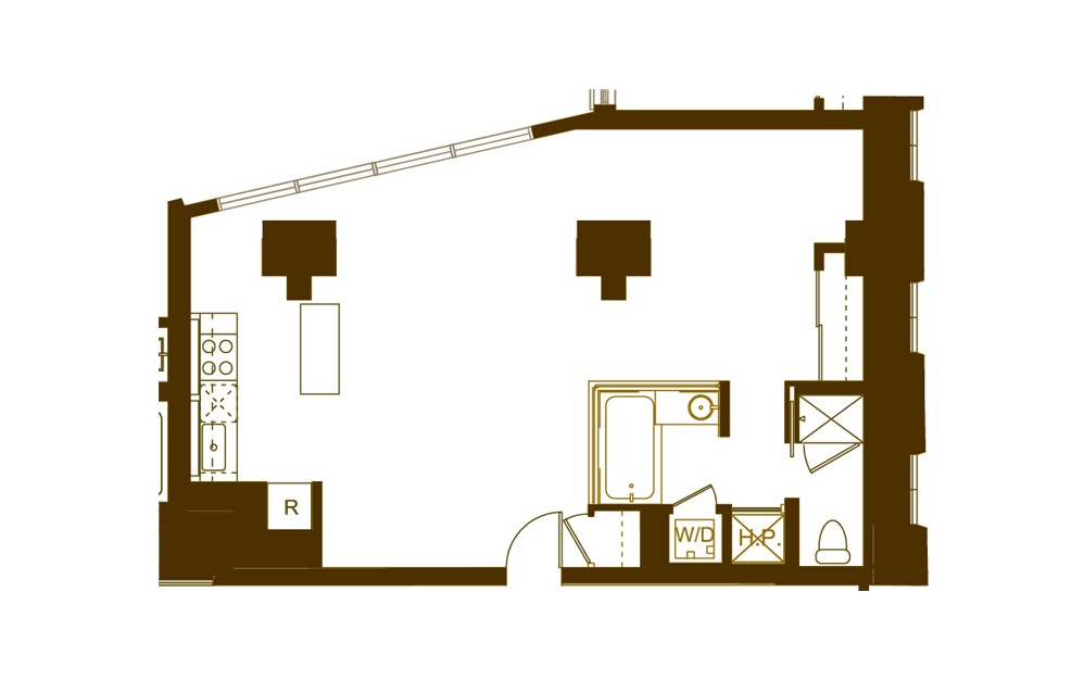 G 1 Bed 1 Bath Floorplan