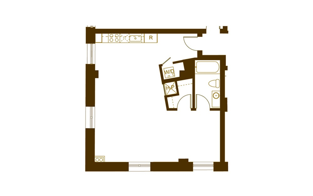 H 1 Bed 1 Bath Floorplan