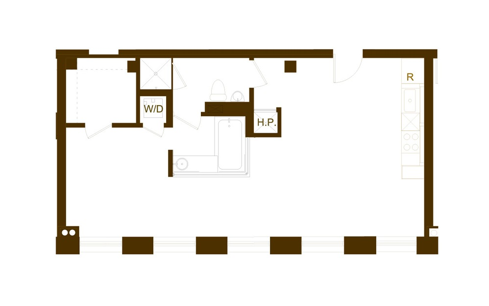 K 1 Bed 1 Bath Floorplan