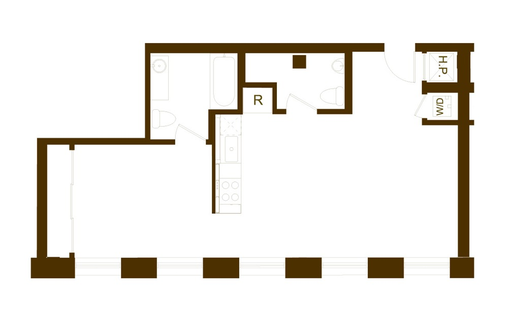 KK2-1 1 Bed 1.5 Bath Floorplan