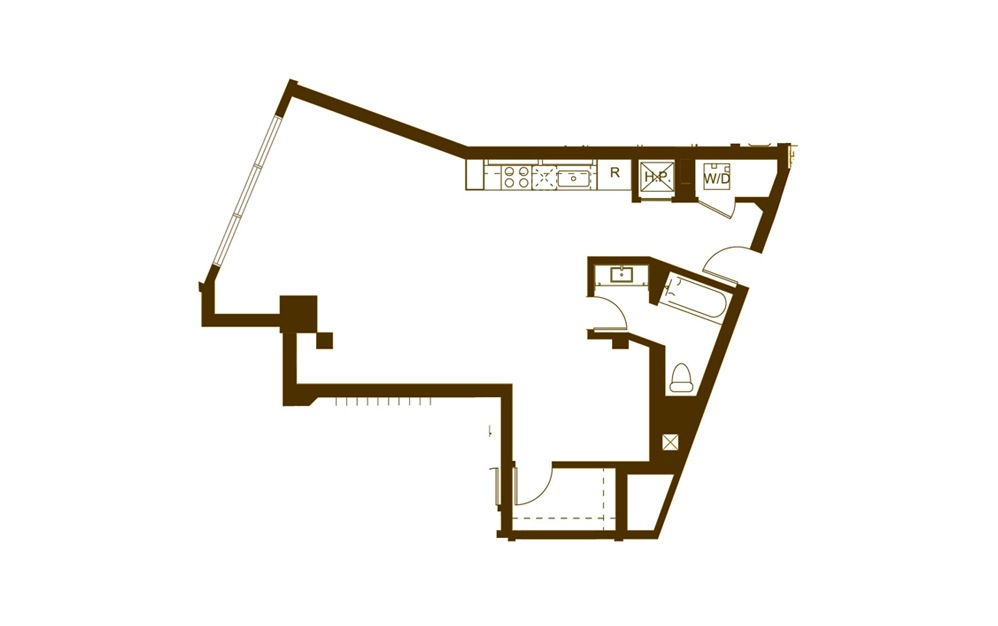 M 1 Bed 1 Bath Floorplan