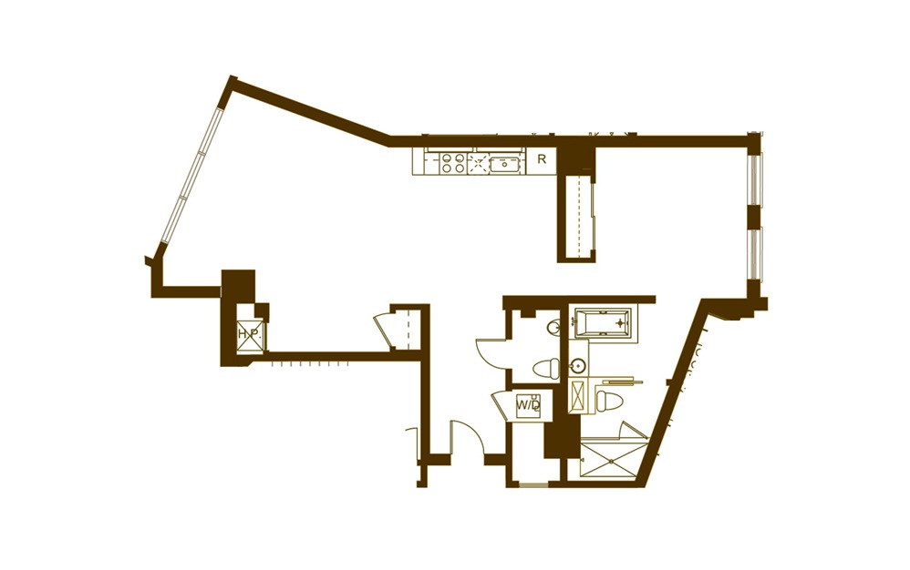 N 1 Bed 1 Bath Floorplan