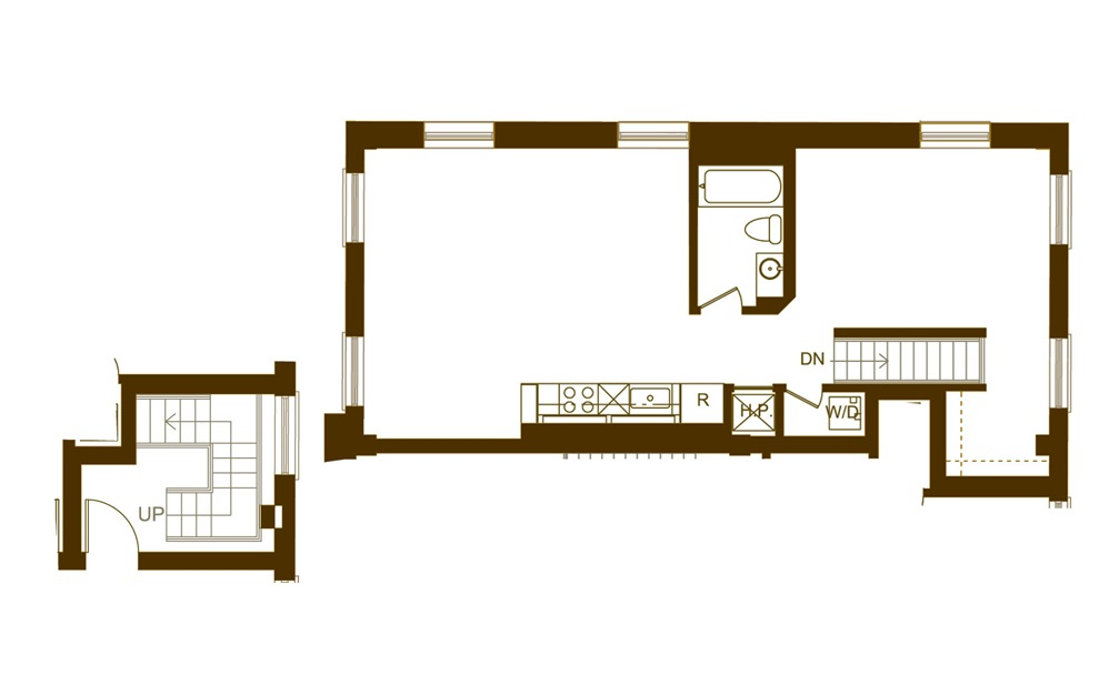 R 1 Bed 1 Bath Floorplan
