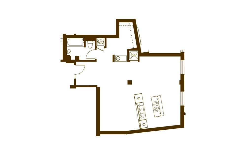 S 1 Bed 1 Bath Floorplan
