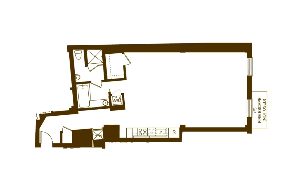 U2 Studio 1 Bath Floorplan
