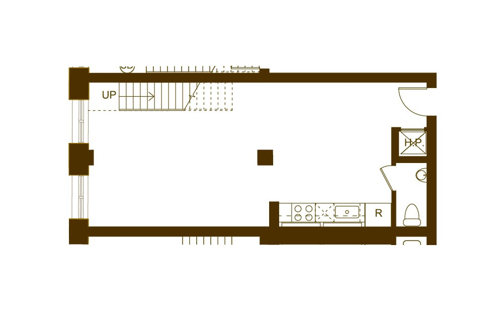 Y 1 Bed 1.5 Bath Floorplan